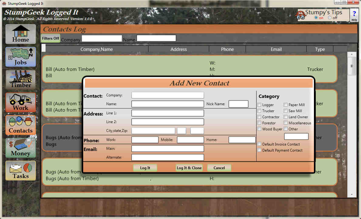 Manage your contacts and people you do business with with Logged It Business Management Software for Loggers
