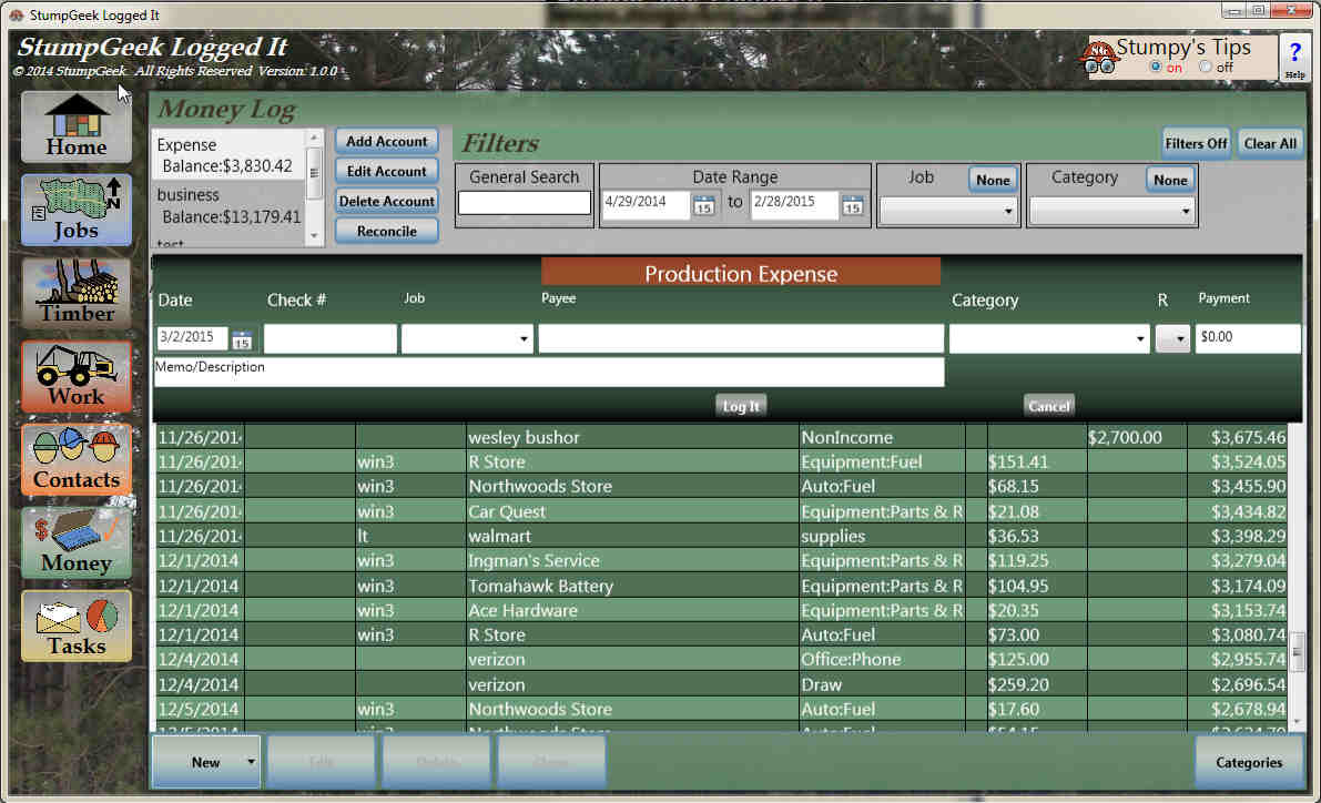 Manage your business bank accounts and expenses with Logged It Business Management Software for Loggers